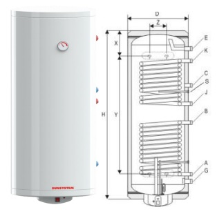 Poza Boiler termoelectric cu doua serpentine SUNSYSTEM BB V/S2 200 - 200 litri