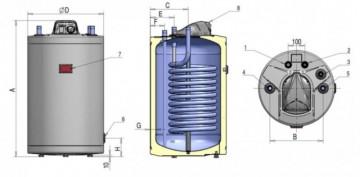 Poza Boiler indirect cu o serpentina cu racordare superioara ATLAS 80 litri. Poza 3710