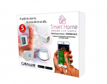 Smart Home Salus IT600 pachet baza Gateway UGE600, Termostat digital 4 in 1 VS20WRF, Receptor de sistem RX10RF, priza inteligenta SPE600