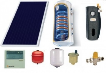 Poza Pachet panou solar panou solar plan Sunsystem si boiler 120 litri pentru 1-2 persoane