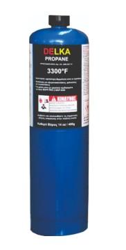 Butelie DELKA Propan 400 g, valva CGA 600 americana,≥ 95% propan