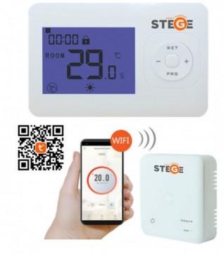 Termostat de ambient fara fir programabil prin internet Stege WT200 WiFi