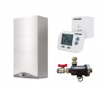 Pachet Centrala termica in condensatie Ariston Cares Premium 24 EU,Termostat de ambient fara fir programabil Controltherm BT162,Filtru Antimagnetita Ultra Mag